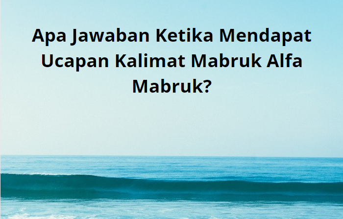 Jawaban Ketika Mendapat Ucapan Kalimat Mabruk Alfa Mabruk